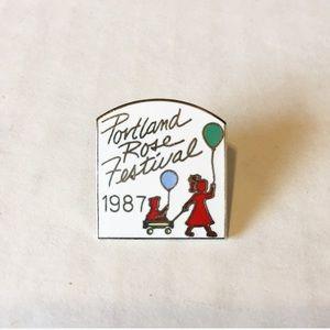 Vintage Portland OR Rose Festival Enamel Pin